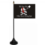 Pirate Time Flies When You're Having Rum Desk / Table Flag with plastic stand and base